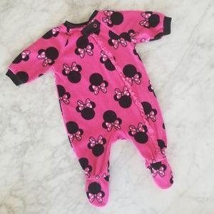 BABY GIRL MINNIE PINK FLEECE ZIPPER PJS 0-3